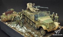 On the muddy road-Ardennes 1944--1/35 Sd.Kfz.6/2场景